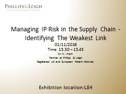Managing IP Risk in the Supply Chain -