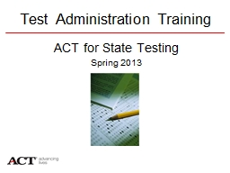 Test Administration Training PowerPoint PPT Presentation
