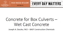 Concrete for Box Culverts – Wet Cast Concrete