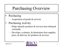 1 OMGT6743 Purchasing Overview