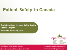 Patient Safety in Canada