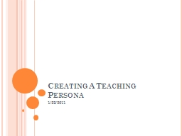 Creating A Teaching Persona