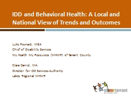 IDD and Behavioral Health: A Local and National View of Trends and Outcomes
