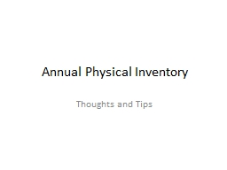 Annual Physical Inventory