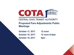 Proposed Fare Adjustments Public Meetings