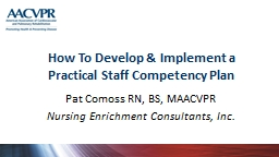 How To Develop & Implement a Practical Staff Competency Plan