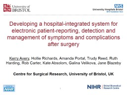 Developing a hospital-integrated system for electronic patient-reporting, detection and management of symptoms and complications after surgery