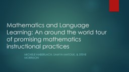 Mathematics and Language Learning: An around the world tour of
