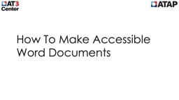 How To Make Accessible Word Documents