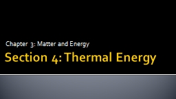 Section 4: Thermal Energy
