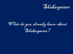 Shakespeare What do you already know about Shakespeare?