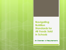 Navigating Nutrition Standards for All Foods Sold in Schools