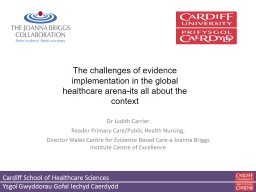 Dr Judith Carrier Reader Primary Care/Public Health Nursing,