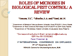 ROLES OF MICROBES IN BIOLOGICAL PEST CONTROL: A REVIEW
