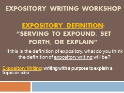 Expository writing Workshop