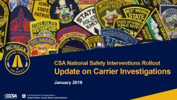 January 2019 CSA National Safety Interventions Rollout