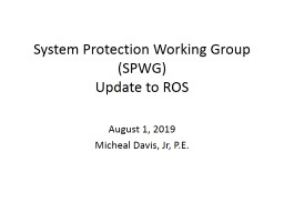 System Protection Working Group (SPWG)