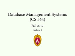 Database Management Systems (CS 564)