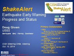ShakeAlert  Earthquake Early Warning