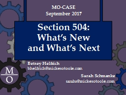 Section 504:  What's New