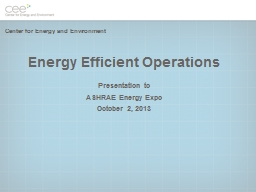 Energy Efficient Operations