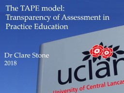 The TAPE model: Transparency of Assessment in Practice Education