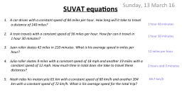 SUVAT equations Monday, 14 March 2016