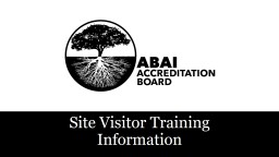 Site Visitor Training Information