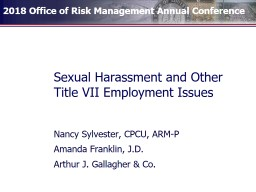 Sexual Harassment and Other Title VII Employment Issues