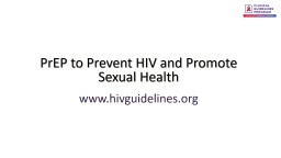 PrEP to Prevent HIV and Promote Sexual Health