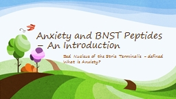 Anxiety and BNST Peptides