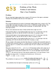Problem of the Week Problem D and Solution That is Sum