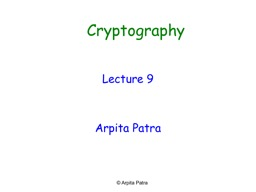 Cryptography Lecture