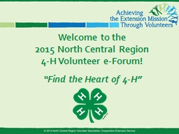 Welcome to the 2015 North Central Region