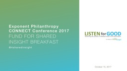 Exponent Philanthropy CONNECT Conference 2017