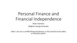 Personal Finance and Financial Independence