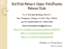 Best Bridal Makeup in Udaipur-Pinks&Peaches Makeover Studio