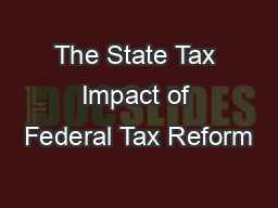 The State Tax Impact of Federal Tax Reform
