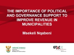 THE IMPORTANCE OF POLITICAL AND GOVERNANCE SUPPORT TO IMPROVE REVENUE IN MUNICIPALITIES