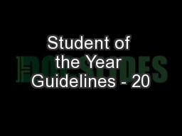 Student of the Year Guidelines - 20