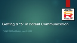 """Getting a """"5"""" in Parent Communication PowerPoint PPT Presentation"""