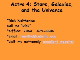Astro 4: Stars, Galaxies, and the Universe