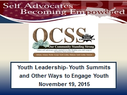 Youth Leadership- Youth Summits and PowerPoint PPT Presentation