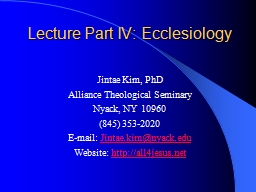 Lecture Part IV: Ecclesiology
