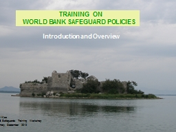 TRAINING  ON  WORLD BANK SAFEGUARD POLICIES
