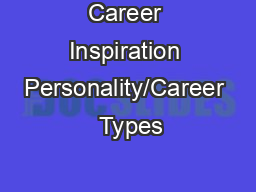 Career Inspiration Personality/Career  Types