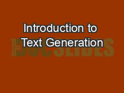 Introduction to Text Generation