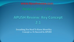 APUSH Review: Key Concept 2.1