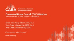 Connected Home Council (CHC) Webinar