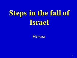 Steps in the fall of Israel